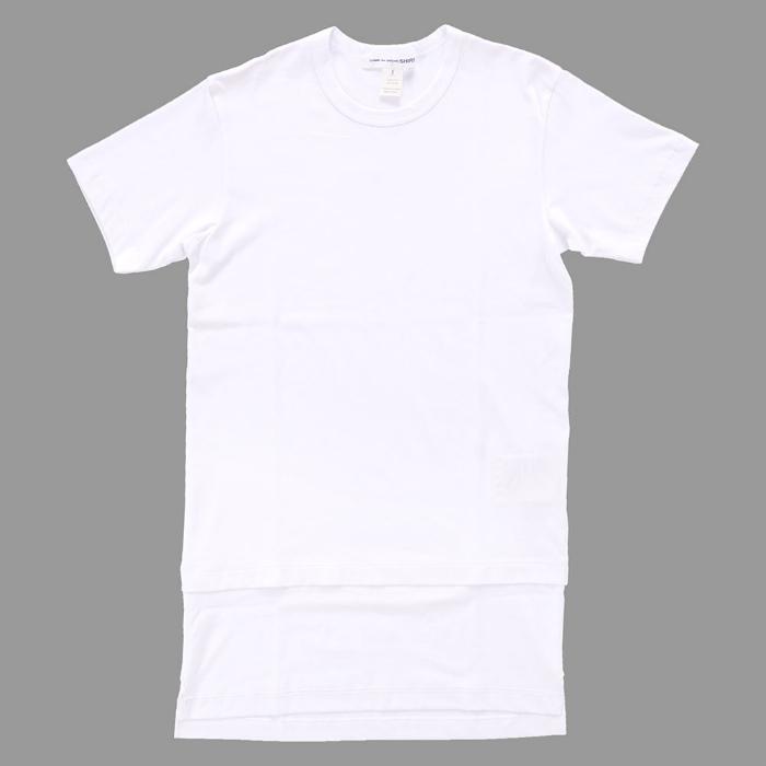 【 メンズ 】コムデギャルソン Tシャツ 半袖 無地 白 シャツ コットン ロング丈 ホワイト トップス カットソー サイドスリット COMME des GARONS SHIRT COTTON JERSEY PLAIN TEE W24106 WHT