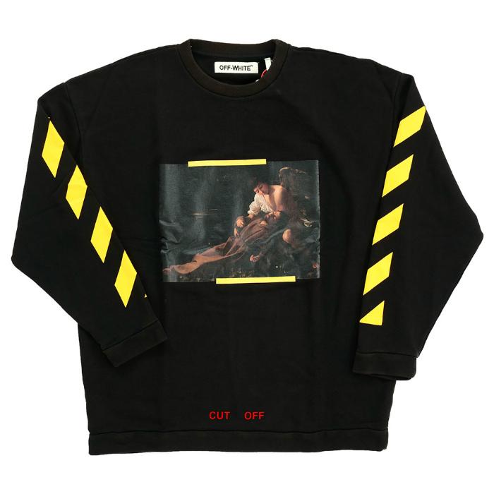 OFF-WHITE S.FRANCESCO CREWNECK off-white Francisco print crew neck sweat shirt trainer black black long sleeves