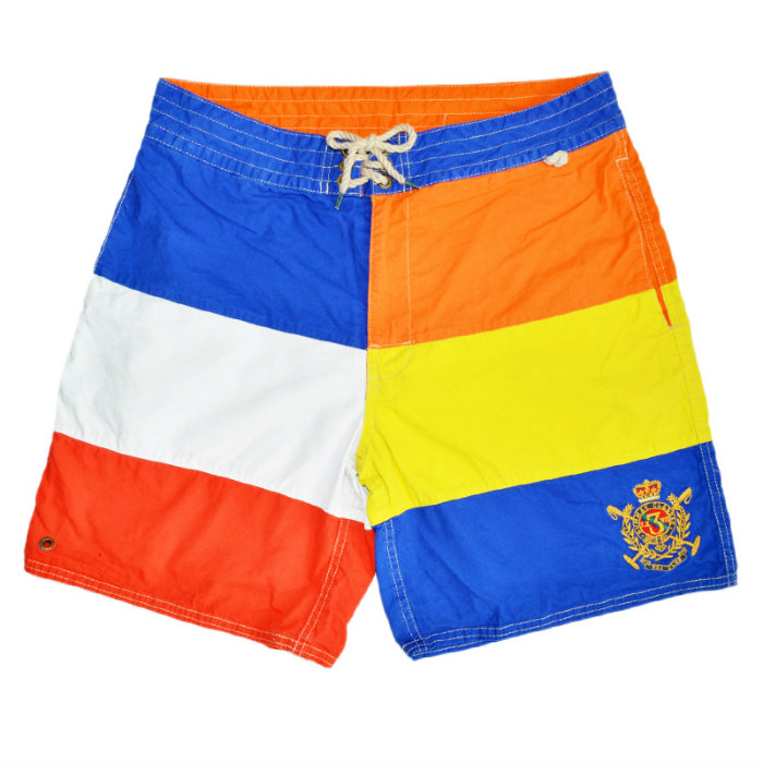 7 POLO by Ralph Lauren Color Blocked Swim Trunk polo Ralph Lauren color  block emblem embroidery swimming panties men swimsuit