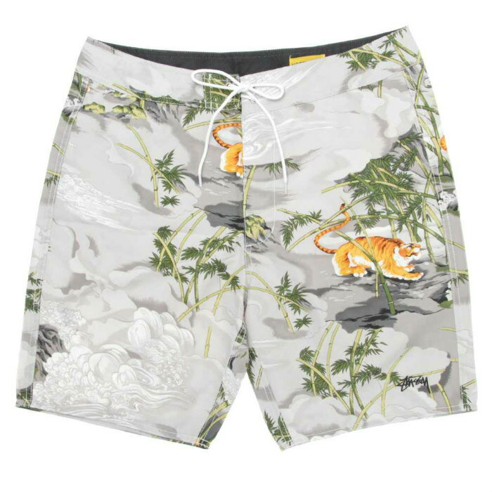 STUSSY China World Tribe Trunks suteyushichainawarudotoraibutorankusutora花纹灰色游泳短裤游泳衣