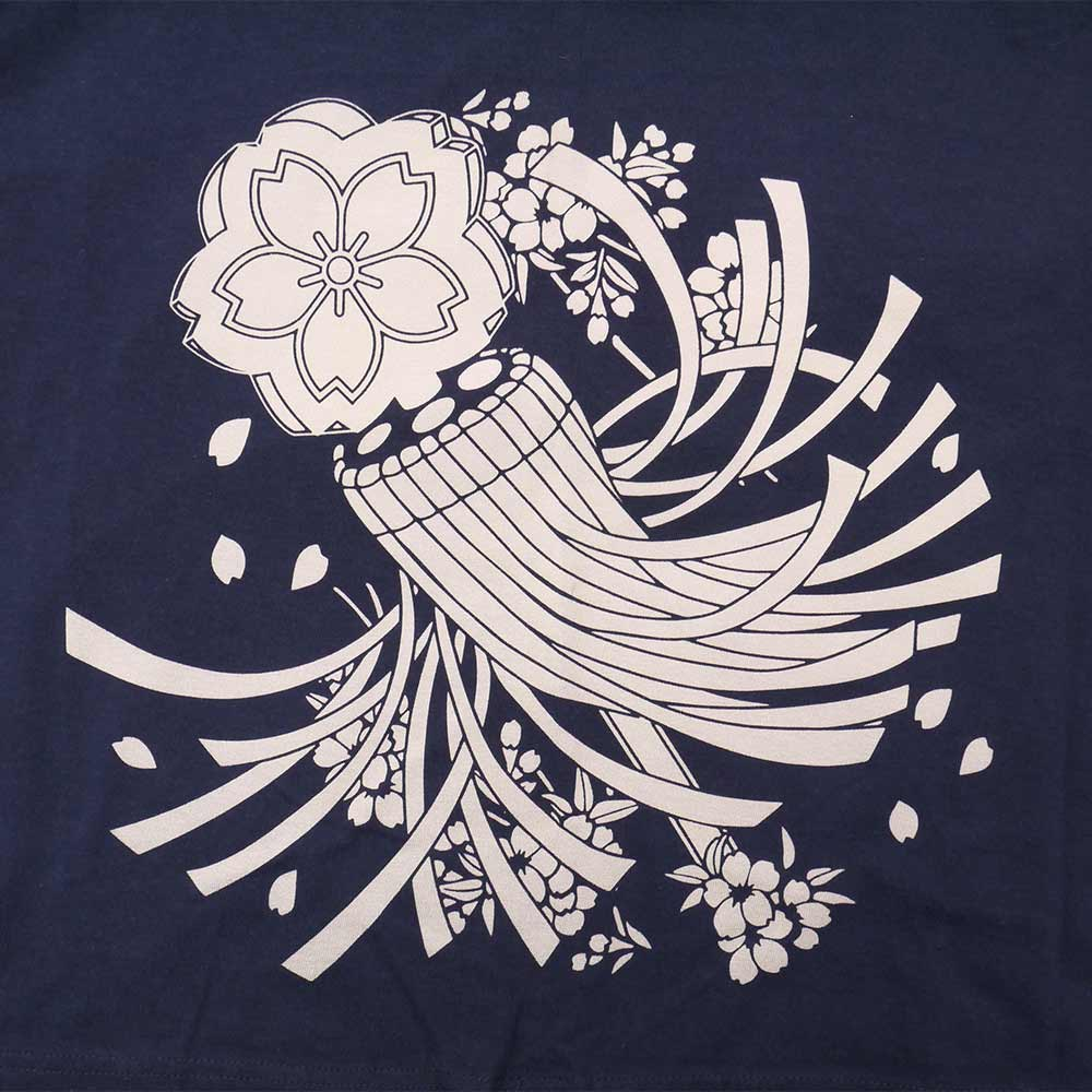 Fireman's standard storm of falling cherry blossoms discharge dyeing T-shirt
