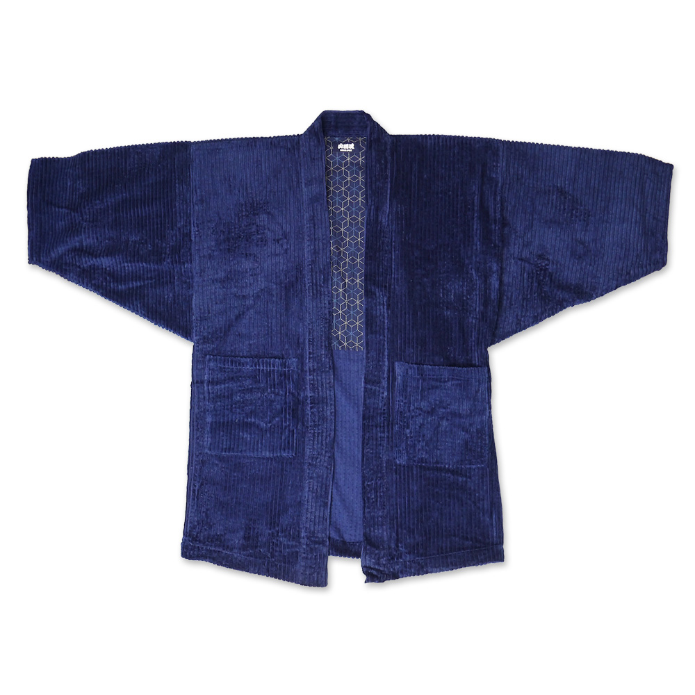 Indigo corduroy short coat (stylish adult navy best friendship pattern  kanji fire fighter in the fall and winter a hikeshisprit Japan men short  coat