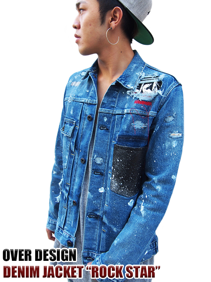 OVERDESIGN オーバーデザイン DENIM JACKET ROCKSTAR p17041216jk 送料無料 【newyear_d19】