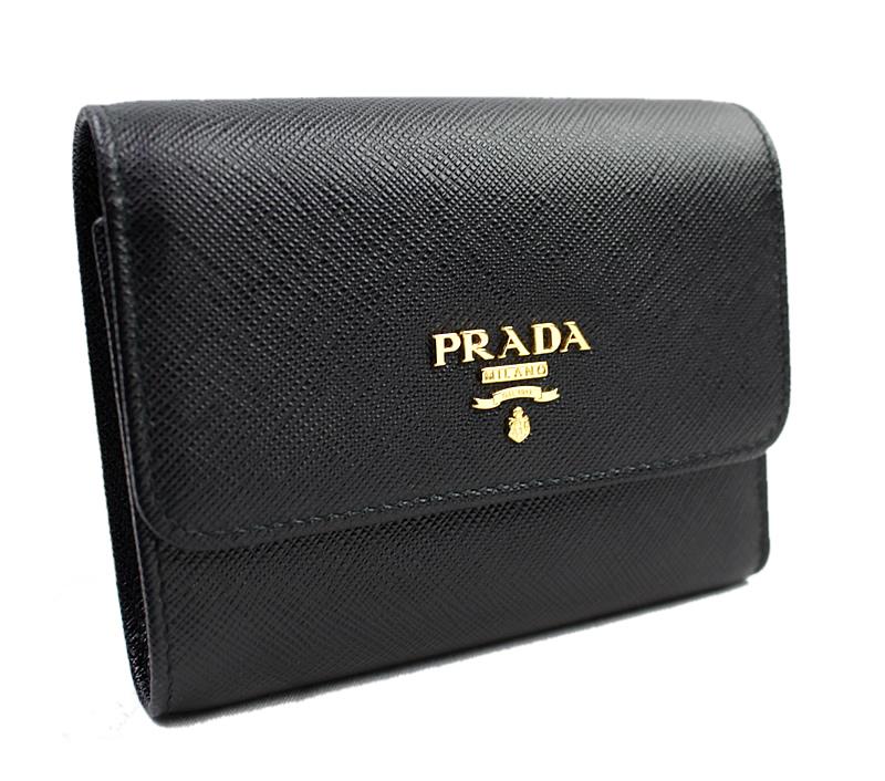新品 未使用品 プラダ PRADA 二つ折り財布 サフィアーノ 黒 1MV204【中古】9012