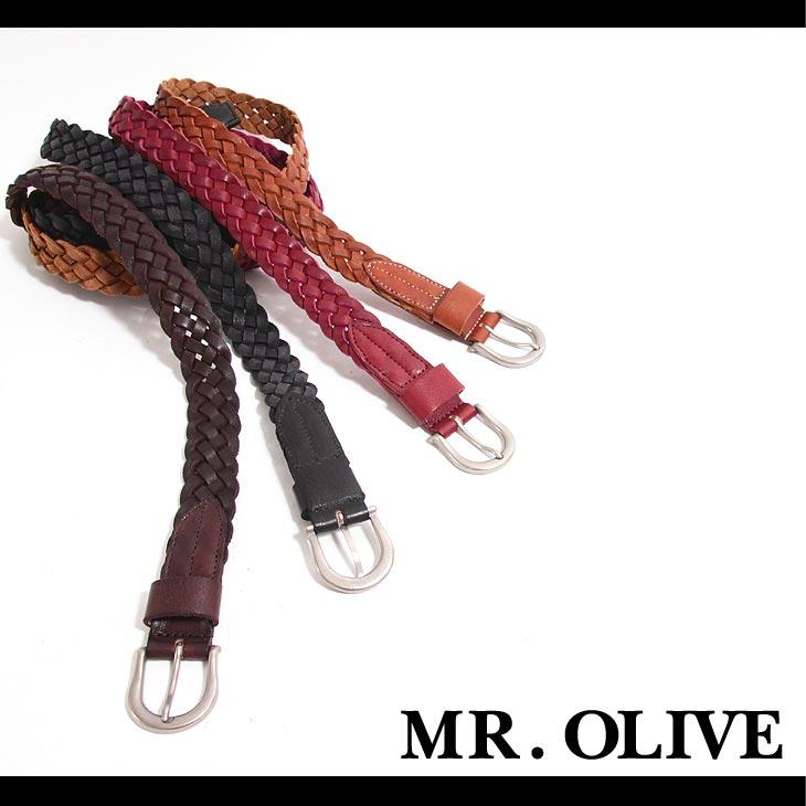 【MR.OLIVE E.O.I 】POLISHED STEER LEATHER/SEVEN LACE MESH BELT ベルト