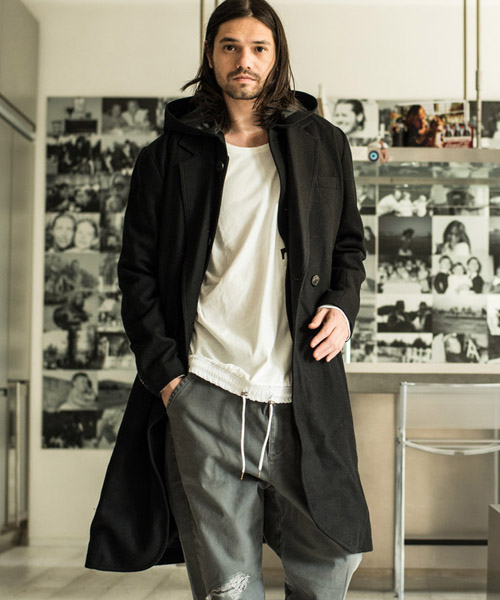 【glamb(グラム)】GB17AT-MN12-Hooded chester coat-フーデッドチェスターコート
