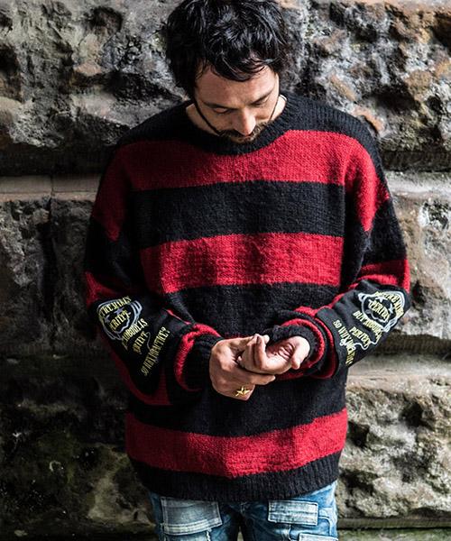 【glamb(グラム)】GB17WT-KNT09-Terence border knit-テレンスボーダーニット-