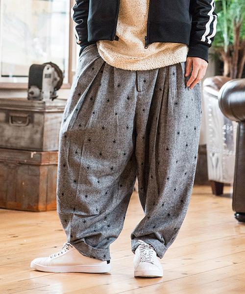 【glamb(グラム)】GB17WT-MN14-Tweed wide slacks-ツイードワイドスラックス-