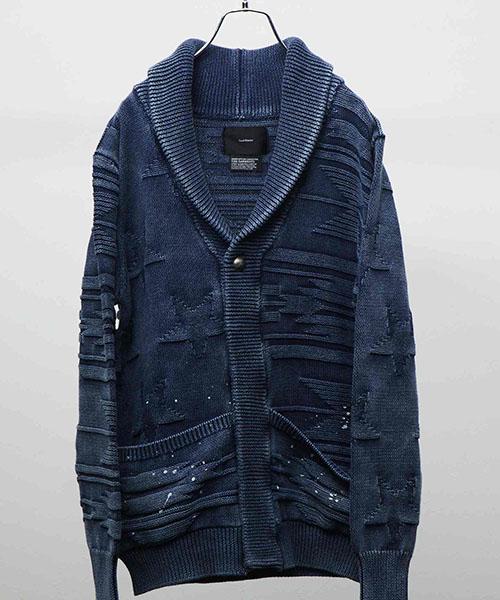 【attack the mind 7】SBID034-CT01-Mix cable shawl cardigan  INDIGOISMWHITE DRIP カーディガン