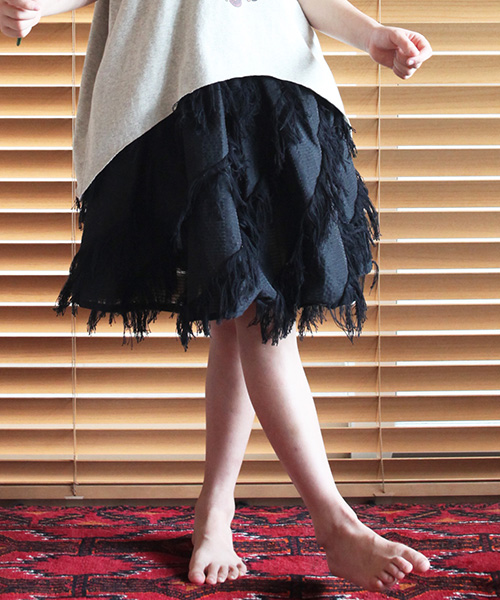 【bedsidedrama】【予約販売2月下~3月上旬】bsdfk-06-フレンジJQギャザースカート-キッズ:CAMBIO