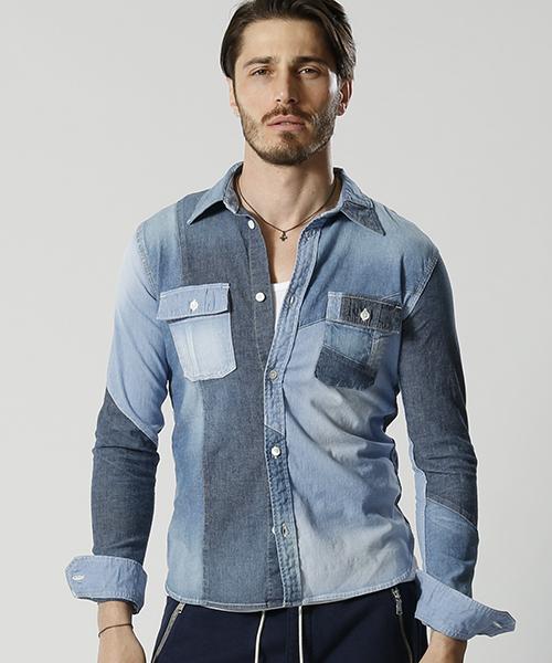 【wjk】4828 dn66j-switching chambray work shirt シャツ