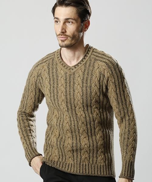 【wjk】plating cable knit V-N ニット(6835 kw44k)