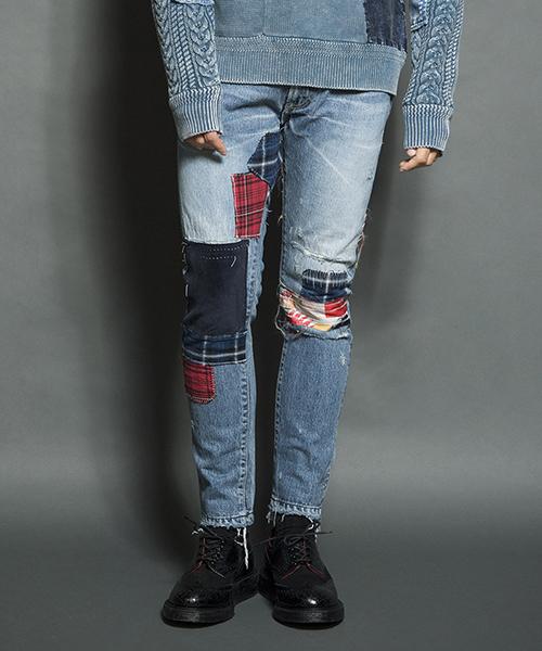 【SEVESKIG(セヴシグ)】HAND REPAIR SKINNY DENIM PANTS パンツ(PT-SV-HA-1004)