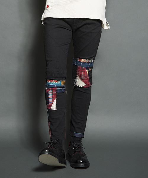 【SEVESKIG(セヴシグ)】EXTRA STRETCH SKINNY REPAIR PANTS パンツ(PT-SV-HA-1011)