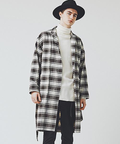 【CHORD NUMBER EIGHT(コードナンバーエイト)】DROP SHOULDER LONG GOWNチェックガウンシャツ(N8M1H5-SH02)