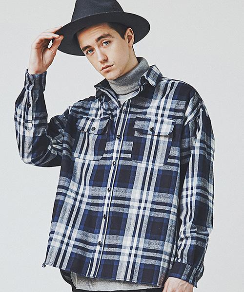 【CHORD NUMBER EIGHT(コードナンバーエイト)】OVERSIZED CHECK SHIRTオーバーサイズチェックシャツ(N8M1H5-SH04)