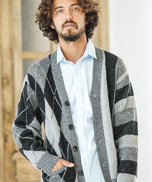 【CAMBIO(カンビオ)】Pattern Switch Similar Colors Knit Cardigan カーディガン