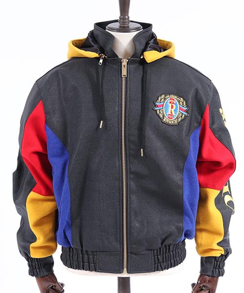 【JOY RICH(ジョイリッチ)】Joyrich Faux Leather & Wool Jacket ジャケット(1840100123)