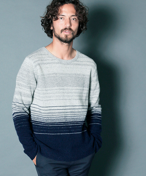 【Magine(マージン)】LAMB WOOL GRADATION BOADER KNIT ニット(1836-75)