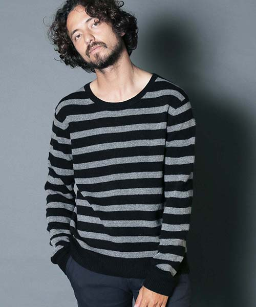 【Magine(マージン)】LAMB WOOL BOADER KNIT ニット(1836-74)