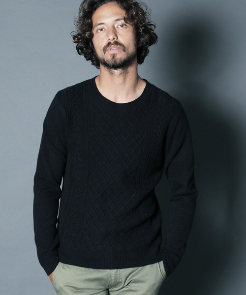 【Magine(マージン)】WOOL NYLON CABLE KNIT ニット(1836-70)