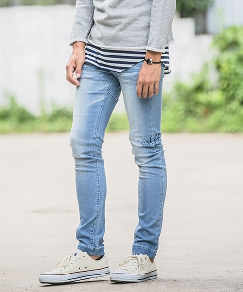 【Smoothy(スムージー)】SMOOTHY×CAMBIO Side Print Skinny Denim Pants For Men デニムパンツ(SM-CMB-013)