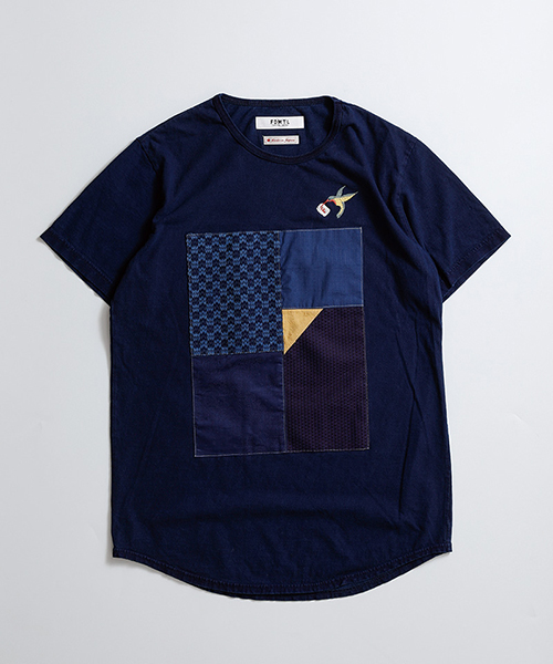 【FDMTL(ファンダメンタル)】PATCHWORK INDIGO TEE Tシャツ(FA19-IT11)