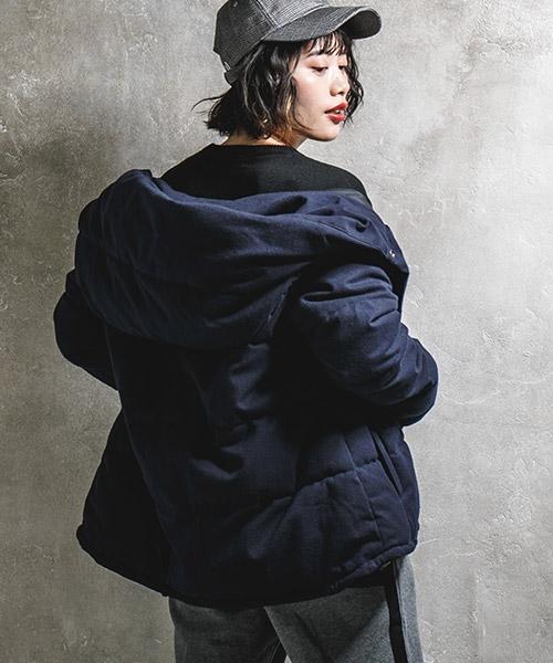 【CAMBIO(カンビオ)】ウールライクストレッチ中綿ショートジャケット