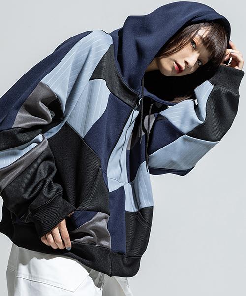 【ANSEASON ANREALAGE】【予約販売2月中旬~下旬入荷】panel patchwork jersey hoody パーカー(19sas131)