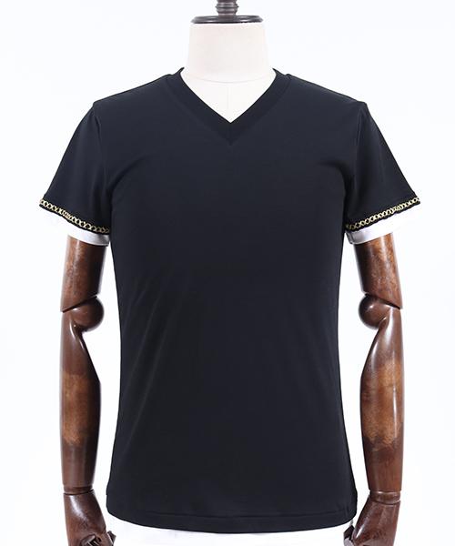 【AKM】S-S V-NECK (GOLD) Tシャツ(T157-CTN190)