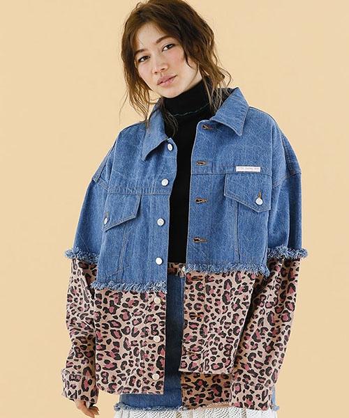【Little sunny bite(リトルサニーバイト)】Original leopard denim jacket ジャケット(LSB-LJK-101K)