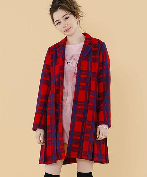 【Little sunny bite(リトルサニーバイト)】Checker pleats coat コート(LSB-LJK-117K)