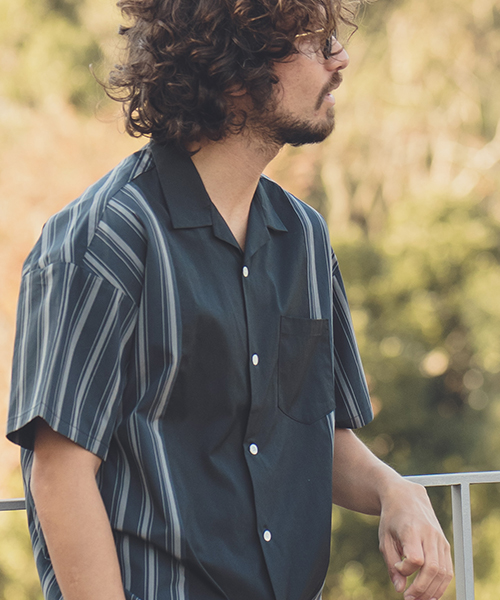 【ANGENEHM(アンゲネーム)】【予約販売4月上旬~中旬入荷】Retro Stripe Swtich Short Sleeve Shirts(MADE IN JAPAN) シャツ(ANG9-006)