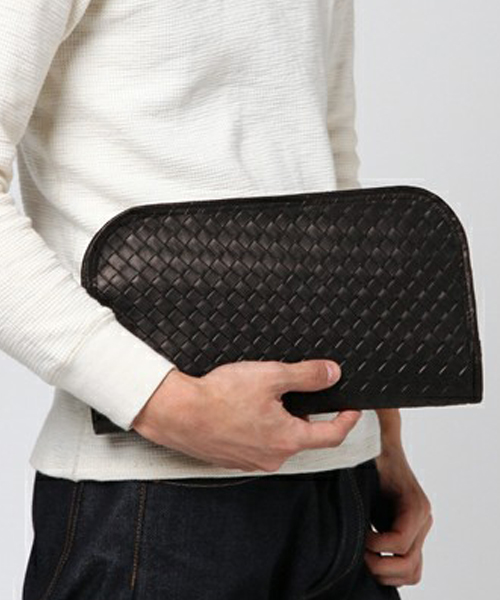 【DECADE(ディケイド)】【予約販売ご注文から1週間後出荷】Embossed Mesh Cow Leather Clutch Bag クラッチバッグ (DCD-00924)
