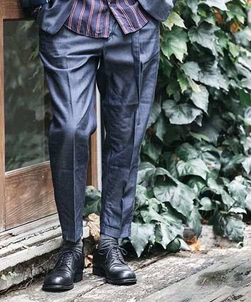 【MROLIVE(ミスターオリーブ)】RIGID TENCEL DENIM -BELTED WIDE TAPERED PANTS デニムパンツ(M-19107)