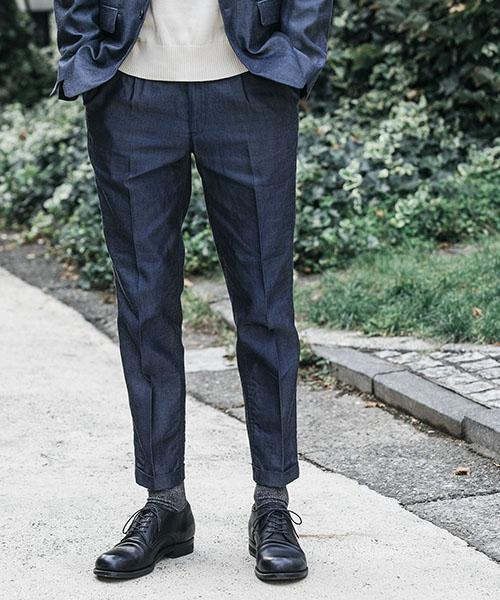 【MROLIVE(ミスターオリーブ)】RIGID TENCEL DENIM -ONE PLEATS STA-PREST TAPERED PANTS パンツ(M-19106)