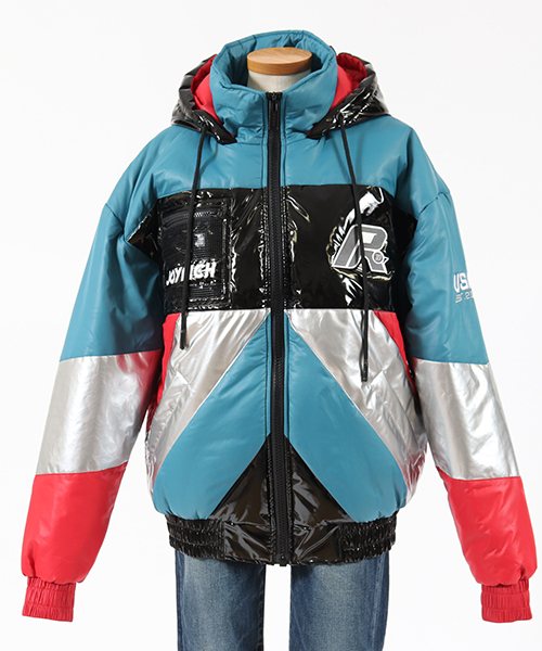【JOY RICH(ジョイリッチ)】Multi Color Retro Puffy Jacket - TEAL ジャケット(1840100131)