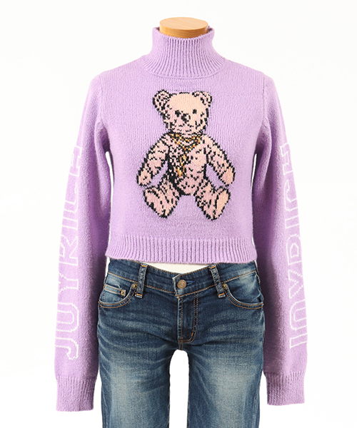 【JOY RICH(ジョイリッチ)】Rock Teddy Cropped Sweater ニット(1840120304)