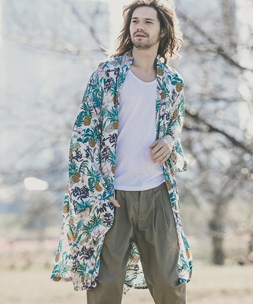 【CAMBIO(カンビオ)】【予約販売カラー・サイズにより納期異なる】Pattern Loose Easy Gown Cardigan ガウンカーディガン