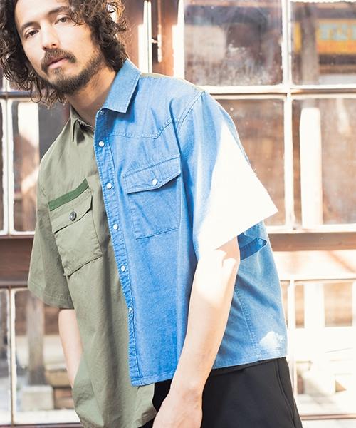 【CAMBIO(カンビオ)】【予約販売4月上旬~中旬入荷】Denim Military Combination Short Sleeve shirts シャツ