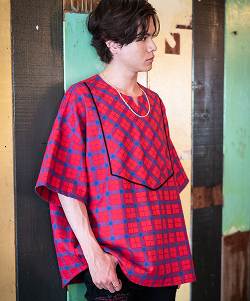 【glamb(グラム)】【予約販売6月下~7月上旬入荷】 Mash check pullover SH マッシュチェックプルオーバーシャツ(GB0219-SH06)