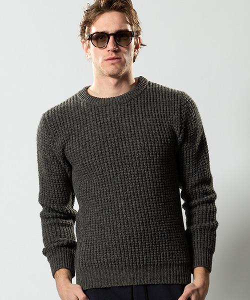 【wjk】【予約販売10月上旬~中旬入荷】hard waffle crew-neck knit クルーネックニット(6306 kw53p)
