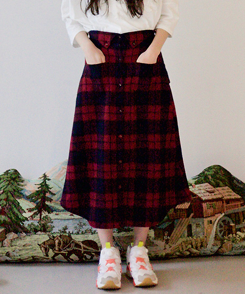 【STORAMA(ストラマ)】【予約販売7月中旬~下旬入荷】Checked Bottondown Skirt スカート(STRM-19I)