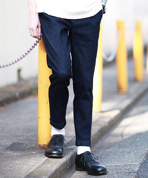 【MROLIVE(ミスターオリーブ)】【予約販売4月末~5月上旬入荷】SUPER STRETCH ONE WASH DENIM -ONE PLEATS TAPERED WORK PANTS パンツ(M-19202)