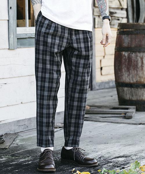【MROLIVE(ミスターオリーブ)】【予約販売4月末~5月上旬入荷】T-R GLENCHECK STRETCH -ONE PLEATS TAPERED EASY PANTS パンツ(M-19118)