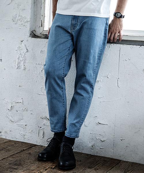 【MROLIVE(ミスターオリーブ)】【予約販売4月末~5月上旬入荷】SUPER STRETCH BLEACH DENIM -WIDE TAPERED ANKLE CUT PANTS パンツ(M-18133)
