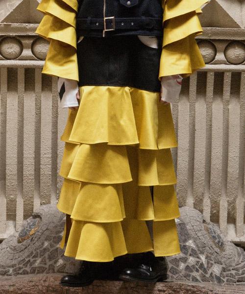 【TENDER PERSON(テンダーパーソン)】【予約販売9月上旬~中旬入荷】TIERFED DENIM FREA SKIRT スカート(CB-SK-1205)