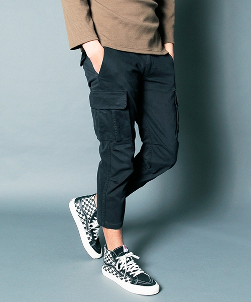 【Magine(マージン)】SULFUR STRETCH TAPERED CROPPED CARGO PANTS:硫化染め ストレッチ テーパード クロップド カーゴ パンツ(1913-51)