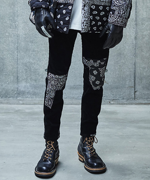 【SEVESKIG(セヴシグ)】【予約販売9月入荷予定】CORDUROY STRETCH SKINNY BLACK PANTS パンツ(PT-SV-KA-1008)