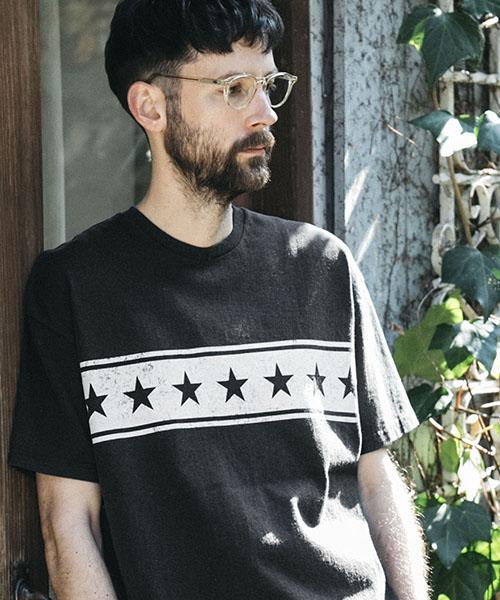 【MROLIVE(ミスターオリーブ)】【予約販売5月末~6月上旬入荷】STARS & STRIPES BORDER-ANGLE -USED CRAFT T-SHIRT Tシャツ(M-19237)